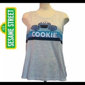 Sesame Street Cookie Monster gray blue tank top L